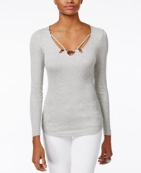 Guess Kalei Strappy Sweater Heather Light Grey