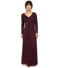 Adrianna Papell Long Sleeve V Neck Beaded Gown Cassis Women's Dress Purple