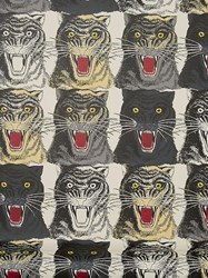 Gucci Tiger Face Print Wallpaper Multicolor