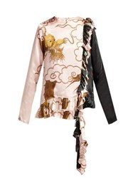 By Walid Nil Antique Silk Blouse Pink Multi