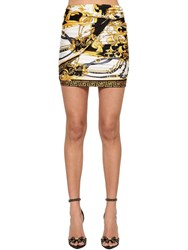 Versace Draped Print Stretch Jersey Mini Skirt Multicolor