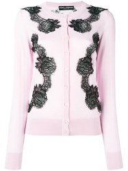 Dolce And Gabbana Lace Detail Cardigan Pink Purple