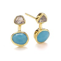 Dione London Iris Rough Diamond And Arizona Turquoise Earrings White Gold