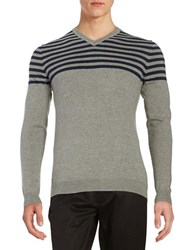 Black Brown Quarter Striped V Neck Sweater Cement Heather