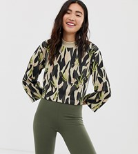 Monki Camo Print Cropped Jersey Top With Oversized Pocket In Green Multi