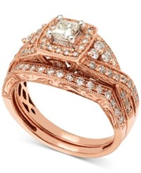Macy's Diamond Milgrain Bridal Set 1 Ct. T.W. In 14K Rose Gold