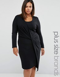 Elvi Plus Wrap Dress With Draped Skirt Black