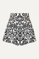 Versace Embroidered Printed Cotton Blend Twill Shorts Black