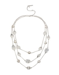 Kenneth Cole Mixed Metal Chain Disc And Bead Necklace Silver