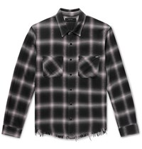 Amiri Checked Cotton Flannel Shirt Gray