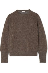 Brunello Cucinelli Metallic Ribbed Knit Sweater Charcoal