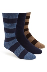 Sperry 'Soft Extreme' Rugby Stripe Crew Socks Assorted 3 Pack Navy Marina
