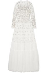 Needle And Thread Ruffled Embellished Tulle Gown Ivory