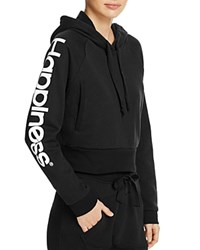Happiness Crop Hoodie Black