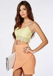 Missguided Eyelash Lace Bralet Lemon Yellow