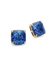 Kate Spade Glitter Faceted Square Stud Earrings Navy