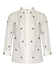 Jupe By Jackie Villere Embroidered Silk Twill Shirt White