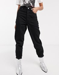 Topshop Tapered Jeans In Black