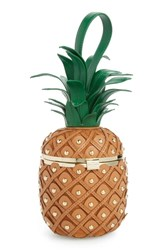Kate Spade New York By The Pool 3D Pineapple Leather Clutch Yellow Wood