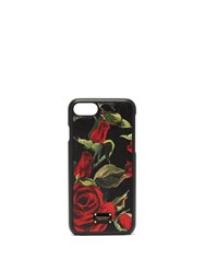 Dolce And Gabbana Rose Print Leather Iphone Case Black Red