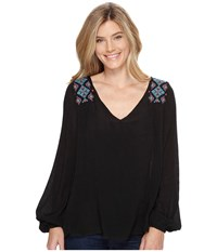 Stetson 0882 V Neck Peasant Blouse Black Women's Blouse