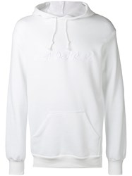 Rodarte Embroidered Oversized Hoodie Unisex Cotton Polyester Xs White