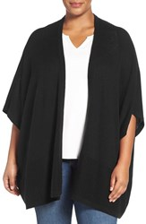 Sejour Plus Size Women's Wool And Cashmere Shawl Black