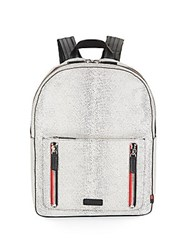 Uri Minkoff Bondi Embossed Leather Backpack White Black