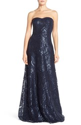 Women's Jenny Yoo 'Sadie' Sequin Lace Strapless A Line Gown Navy