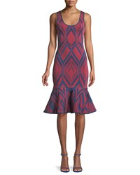Herve Leger Scoop Neck Deco Jacquard Flutter Hem Body Con Cocktail Dress Red Blue