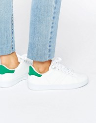 Missguided Green Tab Trainers White