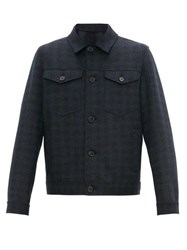 Harris Wharf London Double Chest Pocket Wool Flannel Jacket Navy Multi