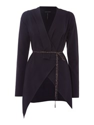 Sarah Pacini V Neck Long Cardigan Purple