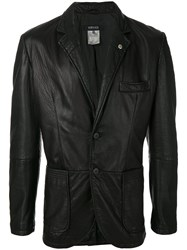 Versace Vintage Buttoned Leather Jacket Black