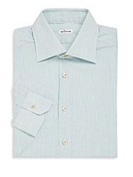 Kiton Long Sleeve Striped Dress Shirt Grey