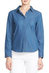 Cynthia Steffe Long Sleeve Denim Shirt Blue