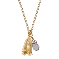 Alex Monroe 22Ct Gold Plated Iolite Baby Bluebell Pendant Necklace