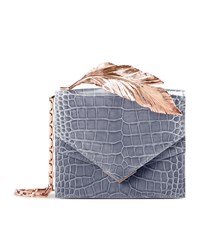 Ralph And Russo Alina Alligator Feather Clutch Female Purple