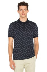 Fred Perry X Raf Simons Abstract Jacquard Pique Shirt Blue