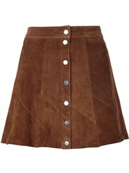 A.L.C. Buttoned Mini Skirt Brown