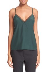 Women's The Kooples Lace Trim Crepe De Chine Camisole Green