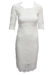Feverfish Lace Scallop Dress Cream