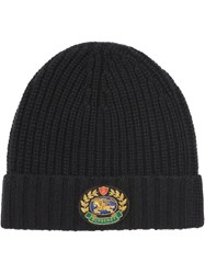Burberry Embroidered Crest Rib Knit Wool Cashmere Beanie Black