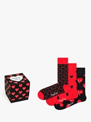 Happy Socks Valentines Gift Box One Size Pack Of 3 Red Black