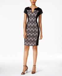 Connected Lace Panel Sheath Dress Black Blush