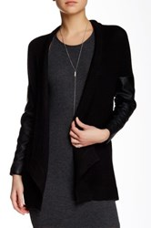 Love Token Casey Faux Leather Sleeve Knit Cardigan Black