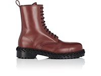 Balenciaga Lacing Detailed Leather Boots Brown