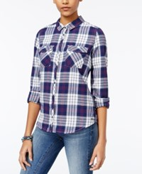 Roxy Juniors' Squary Plaid Shirt Navy White