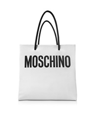 Moschino White And Black Signature Eco Leather Vertical Tote