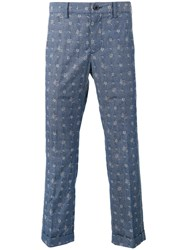 Sacai Aloha Printed Trousers Blue